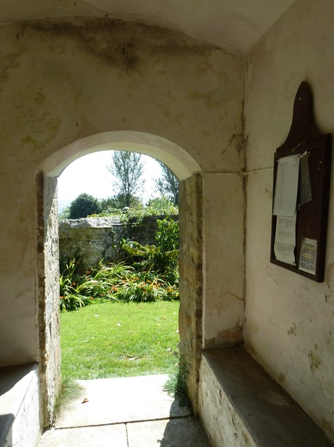 Chilcombe Church: looking out of the south door