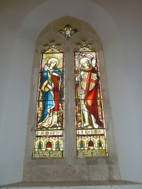 Chilcombe Church: stained glass window (i)