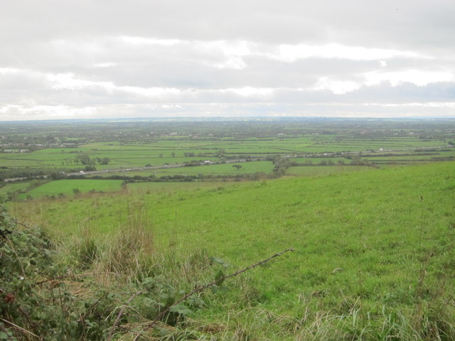 View beside the West Mendip Way looking out over Loxton to the Somerset Levels