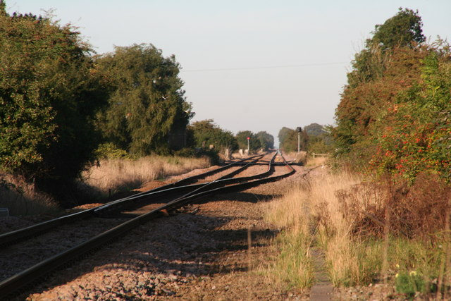Boston to Skegness line looking north from Sibsey
