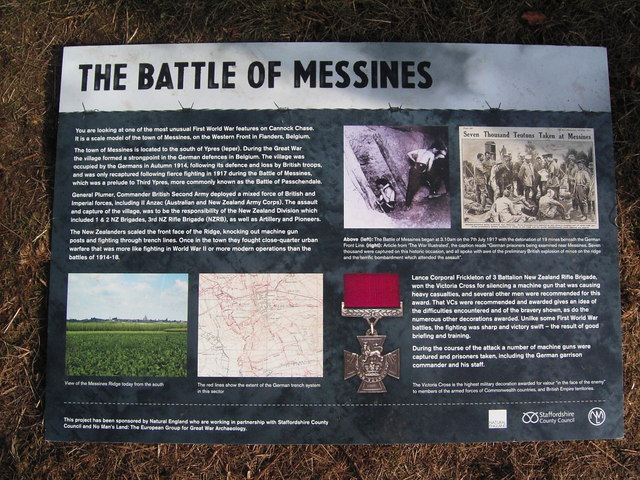 Cannock Chase. Information Board on the Messines Model