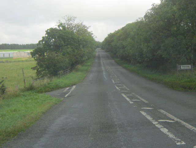 Undulating section of the A68 with Thornley road off to the left