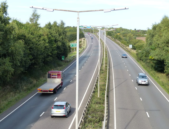 Looking north along the A42