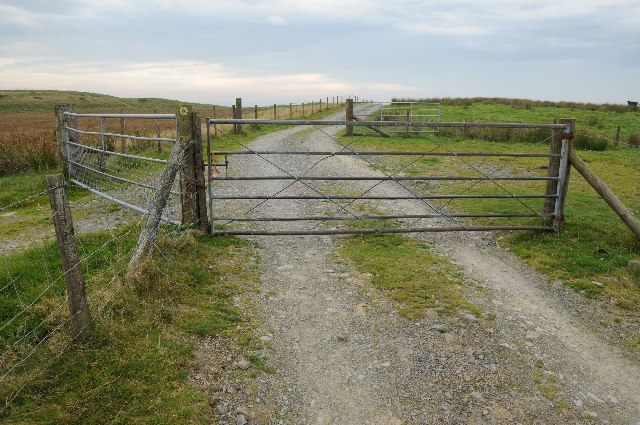 Gates on a track and bridleway