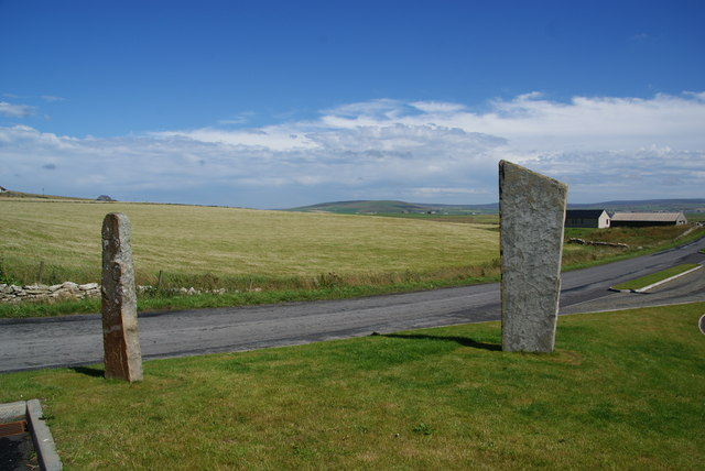 Standing stones by the entrance to Orkney Brewery