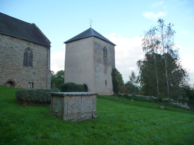 Detached tower at the old church in Richard's Castle