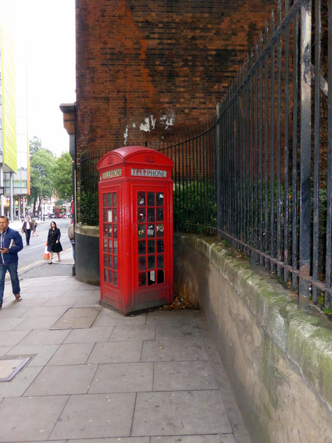 Telephone Box in St Giles High Street. London