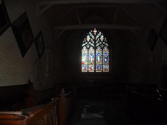 Stained glass window, St. Bartholomew's church, Richards Castle