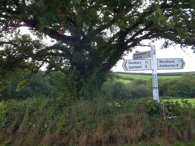 Farmland at Bovey Cross and its signpost