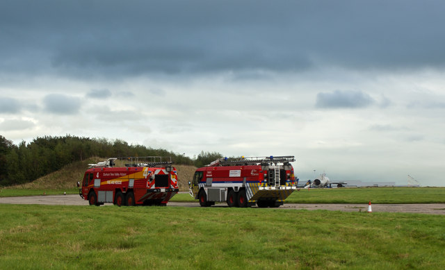 Emergency vehicles on standby at Liverpool Airport