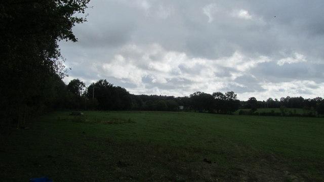 Across fields to railway line