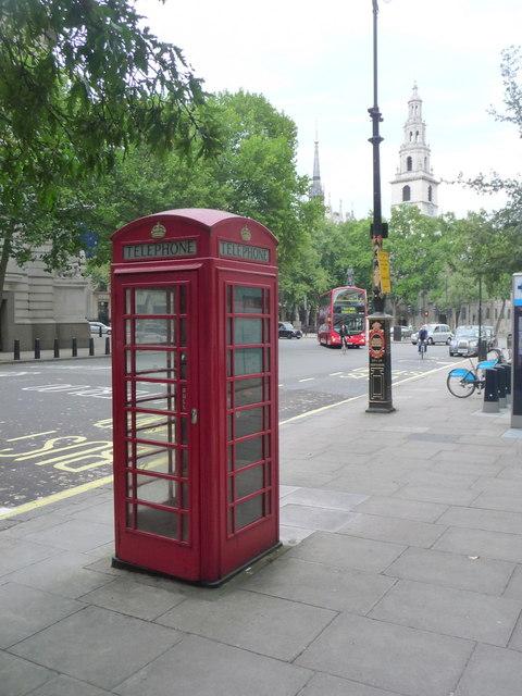 London: red phone box, 176 Strand