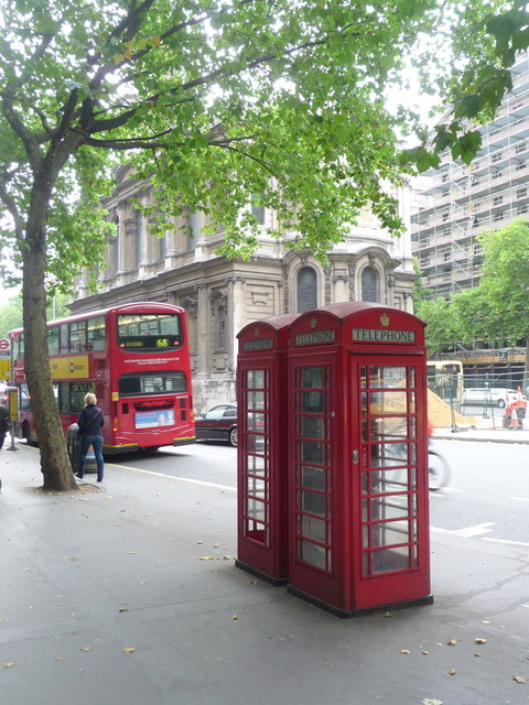 London: red phone boxes outside King's College, Strand
