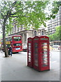 TQ3080 : London: red phone boxes outside King�s College, Strand by Chris Downer