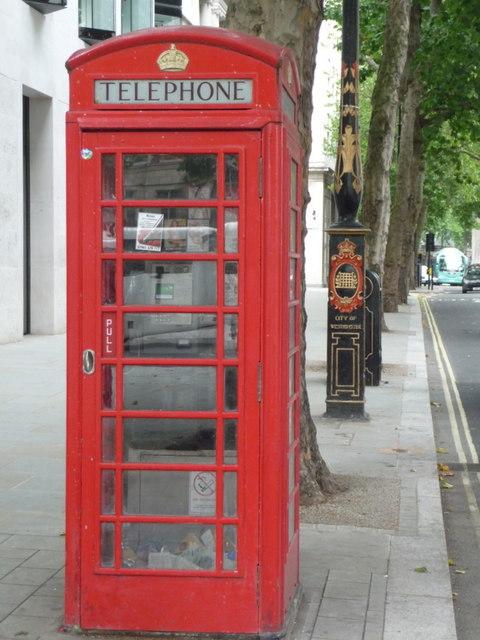 London: red phone box, 143 Strand