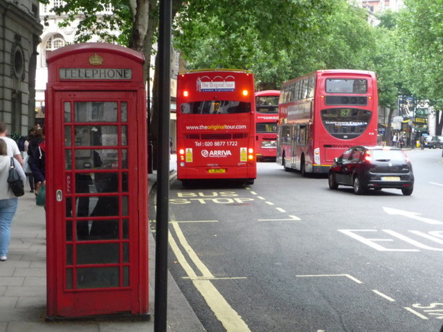 London: red phone box, 1 Aldwych