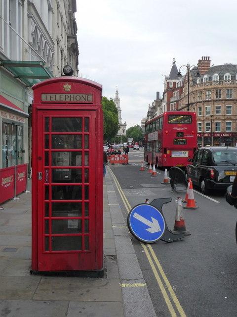 London: red phone box, 357 Strand