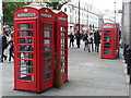 TQ3080 : London: red phone boxes either side of Craven Street by Chris Downer