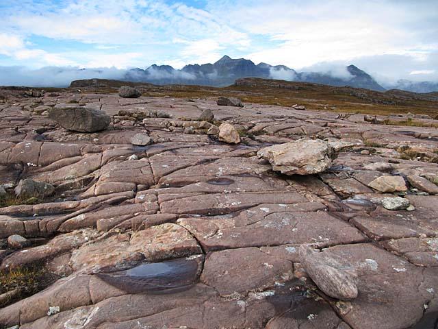 Sandstone pavement on Seana Mheallan, Torridon