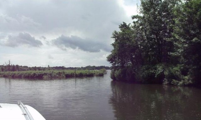 Entering Wroxham Broad from the River Bure