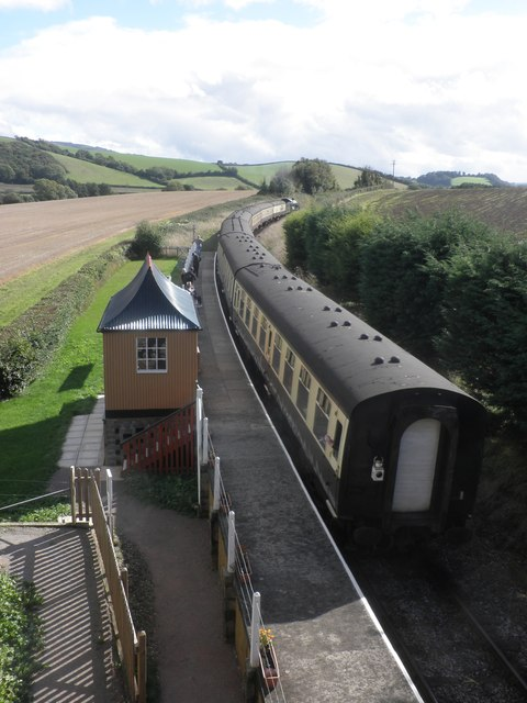 Raveningham Hall passes Doniford Halt with a train for Bishops Lydeard