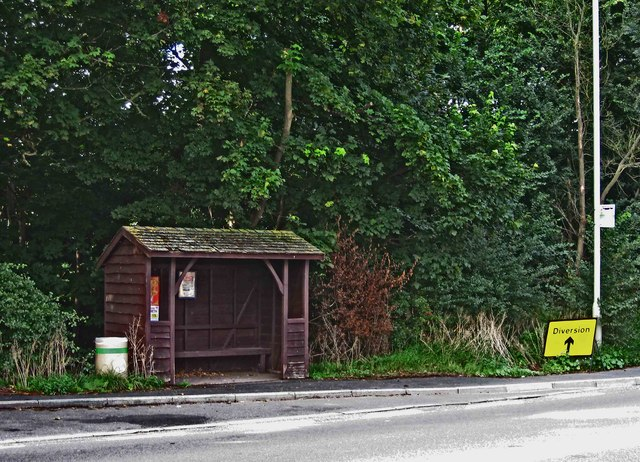 Bus shelter and stop on the A454 road, near Wyken, Shrops