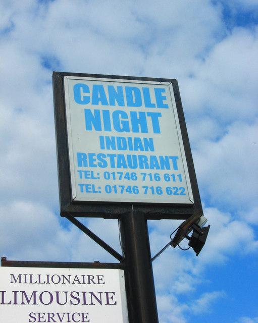 Candle Night Indian Restaurant (3) - sign, 14 Bridgnorth Road, Worfield near Wyken, Shrops