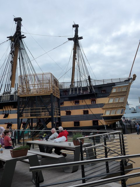 Looking from the new Mary Rose Café towards The Victory