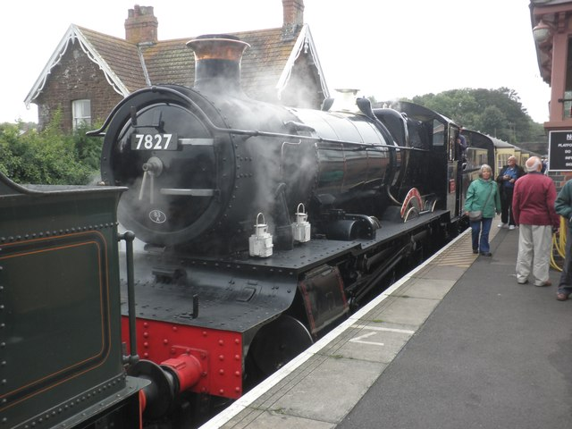 7827 Lydham Manor with a train from Minehead