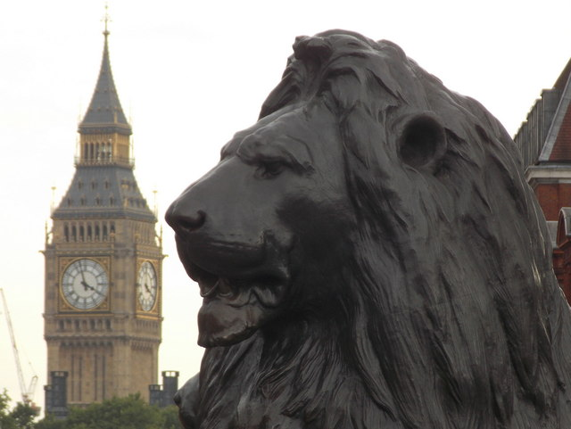 London: a Trafalgar Square lion and Big Ben