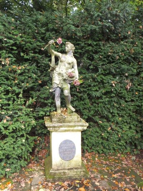 Dartington Hall Gardens; statue of Flora