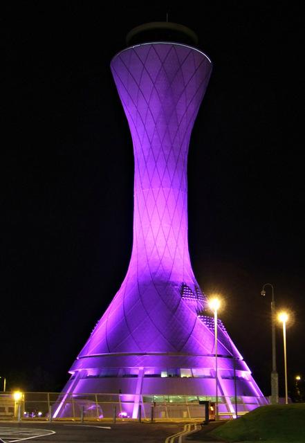 Edinburgh Airport NATS tower at night