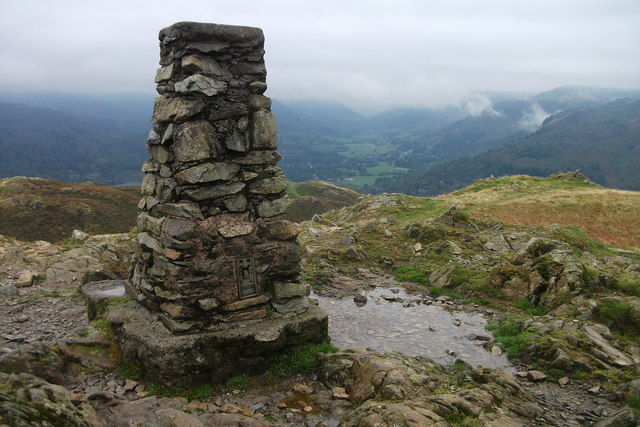 Trig Pillar on Loughrigg Fell