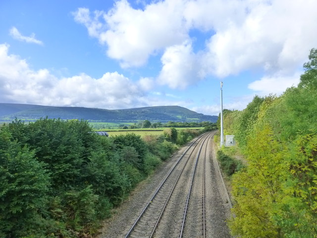 View along the railway towards Abergavenny