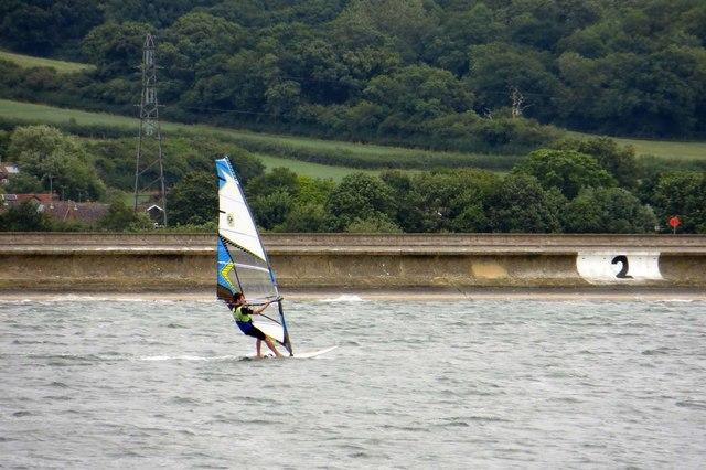 Windsurfing on Farmoor Reservoir