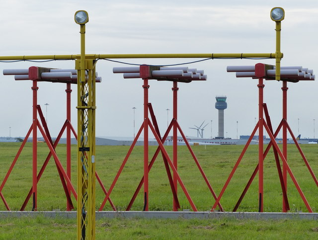 Instrument landing system (ILS) at East Midlands Airport