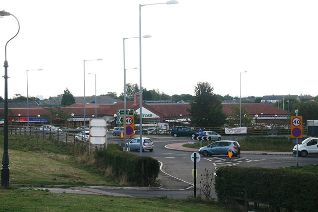 Roundabout and shopping centre on the A164 at Willerby