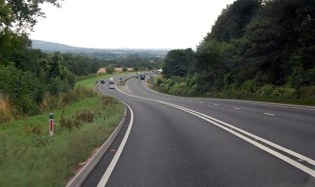 A417 descending to Brockworth