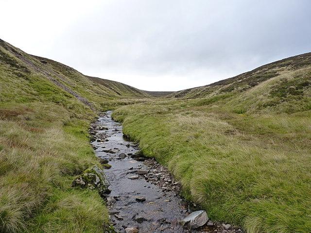 Looking upstream on the Allt Damh Dubh