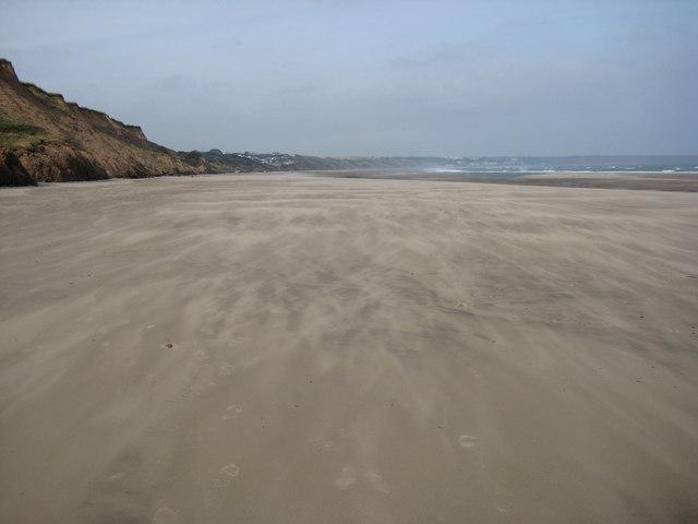 Wind-whipped beach