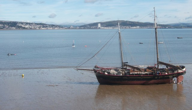Sailing ship the Paradise (?), Swansea Bay