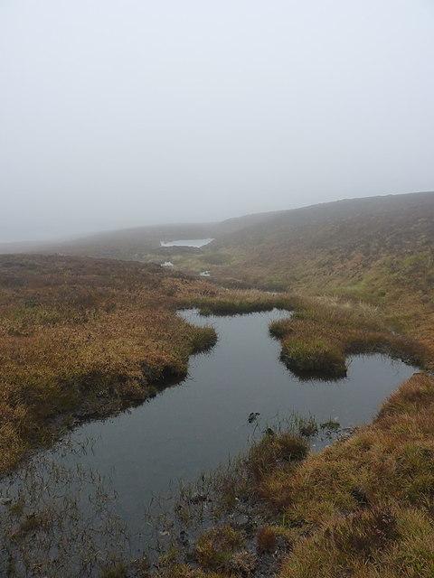 Small peaty pools high above Coire nan Cisteachan