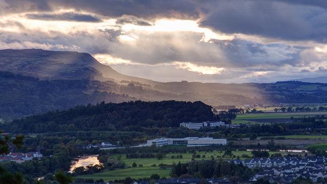 View west towards the Gargunnock Hills