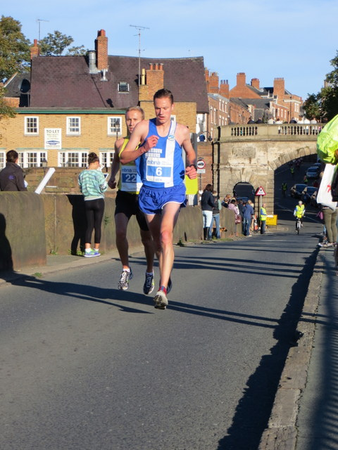 MBNA Chester Marathon 2013 - The leaders on the Old Dee Bridge