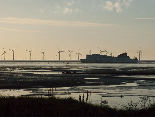 The Stena Line Belfast to Liverpool ferry eases its way inside the wind farm