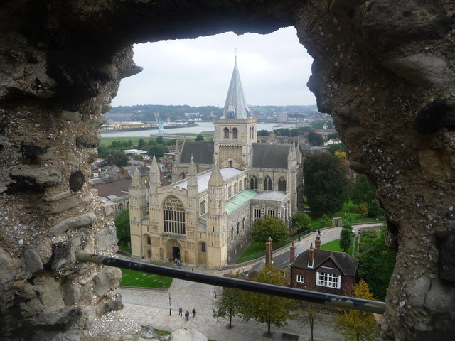 Rochester: the cathedral through a castle window