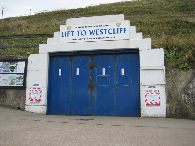 Entrance to the tunnel which leads to the lift up to West Cliff