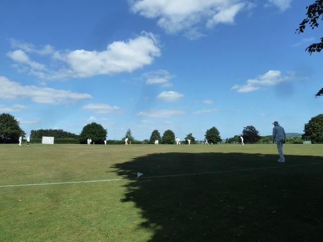 Cricket match in progress at the rec