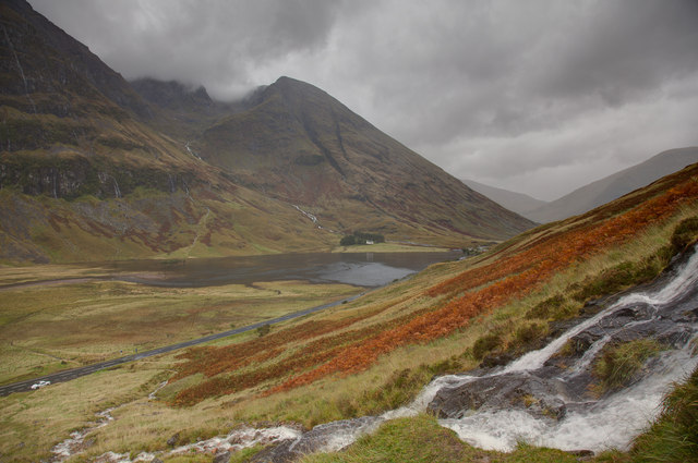 View over waterfall towards Stob Coire nam Beith