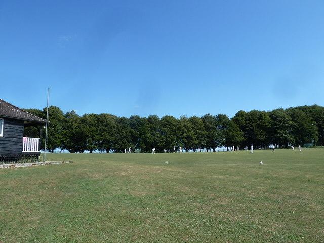 Cricket match in progress at Hinton St Mary